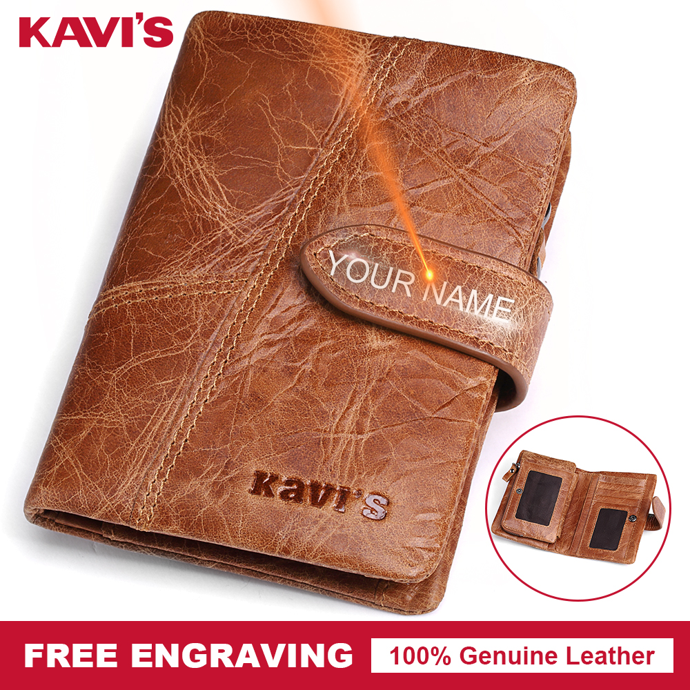 KAVIS Crazy Horse Genuine Leather Wallet Men Coin Purse Walet Portomonee PORTFOLIO Small Card Holder Perse Pocket Hasp Gift For