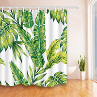Tropical rain forest banana leaves flower style shower curtain digital printing waterproof anti mildew polyester shower curt