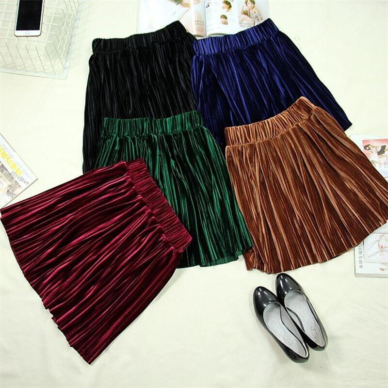 England Style 2019 Autumn Women Velvet Solid Pleated Mini Skirt Plus Size Velour Skirt M-6XL