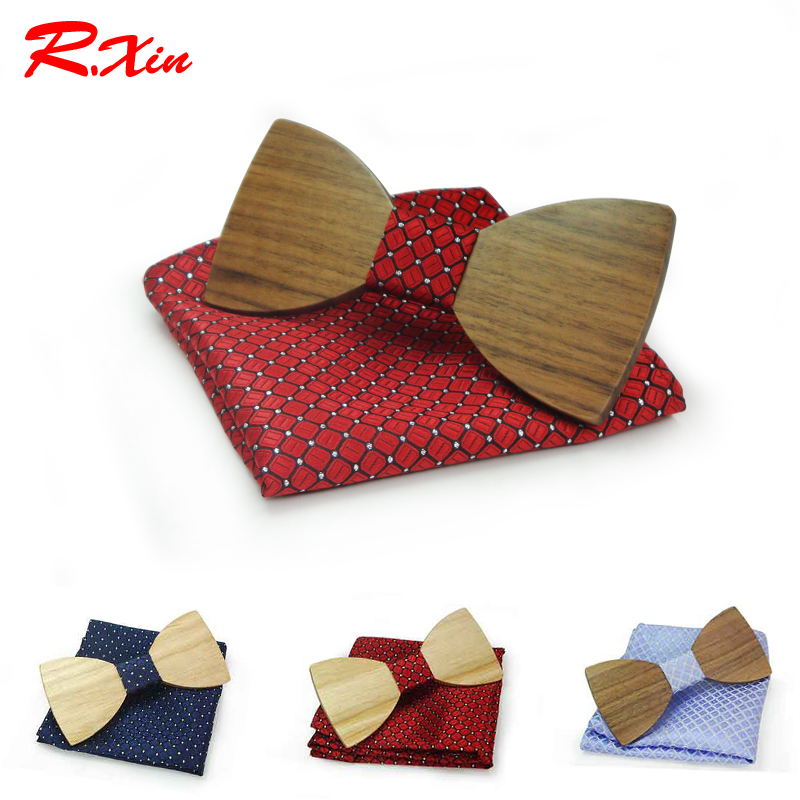 Christmas gift Wedding Wooden Bow Ties With Hanky Set Ties For Men DIY Design Mens Pocket Square Wood tie Gravata bowties