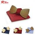 Regalo de navidad de La Boda De Madera Pajaritas Con Pañuelo Lazos para Los Hombres DIY Diseño Mens Pocket Square Madera tie Gravata pajaritas