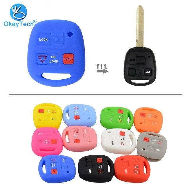Okeytech 실리콘 자동차 키 커버 쉘 포브 도요타 avensis 캄리 corolla rav 원격 키 케이스 2 + 1 버튼 렉서스 키 케이스에 적합