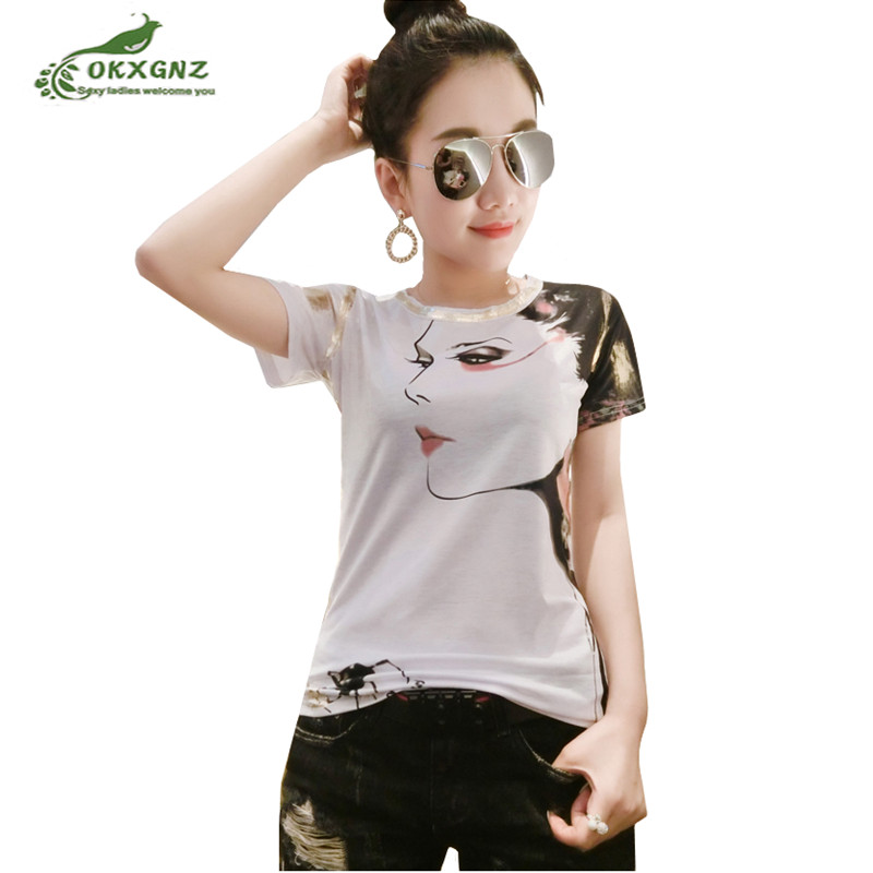 Fashion women summer T-shirt new Slim wild short-sleeved T-shirt large size casual   printing T-shirt shirt Female OKXGNZ AF904