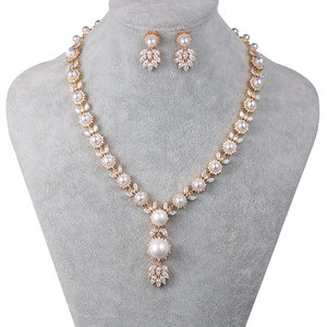 Image 2 - WEIMANJINGDIAN Simulated Shell Pearl and Cubic Zirconia CZ Crystal Necklace & Earring Jewelry Set for Wedding Bridal Jewelry