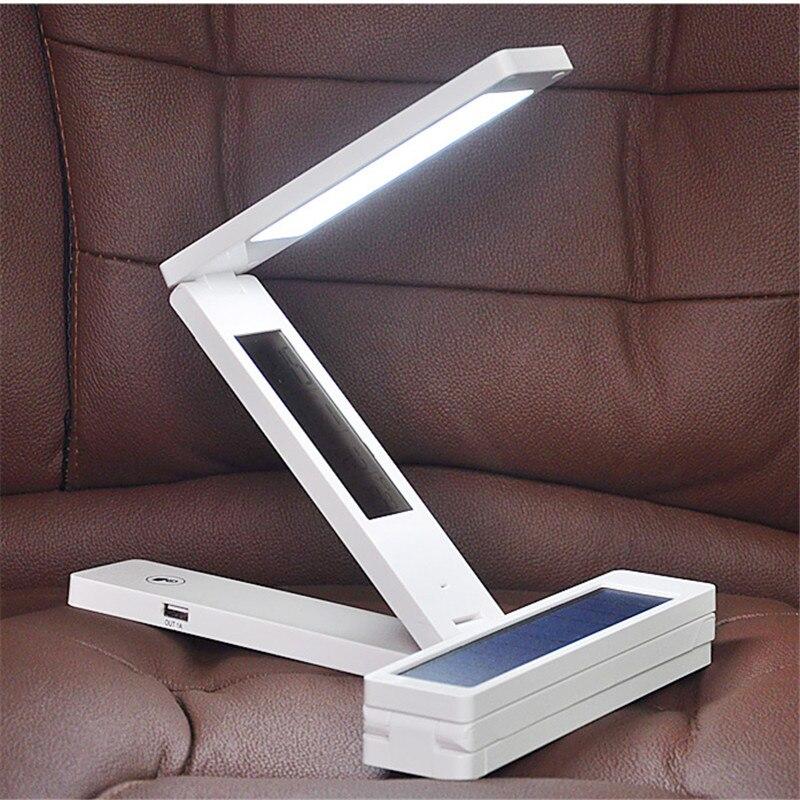 LED Solar Panel Table Light Mobile Power Chargeable Calendar Touchable Garland Eyesight Protect Read Lamp Energy Saving Lighting