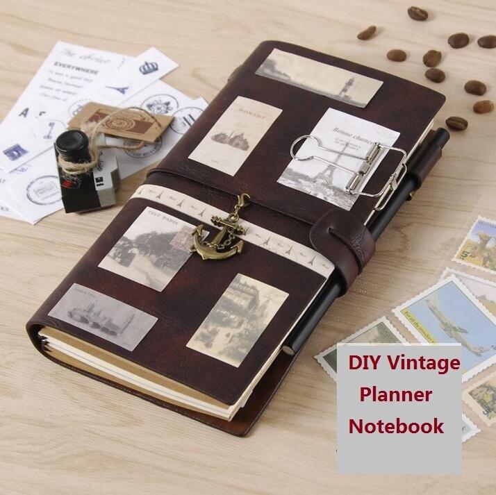 Leder Reisenden Notebook Planer Kreative DIY Vintage Travel Journal Notizblöcke A5 Sprial Aufnahme Täglich Memos Notebooks Geschenke