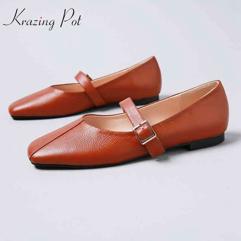 Krazing pot new women brand shoes metal buckle flats square toe genuine soft leather elegant shallow slip on cozy mary janes L78 new hot sale women shoes breathable buckle slip on for women comfortable dress shoes genuine leather white colour free shipping