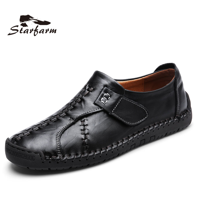 STARFARM Brand Casual Shoes Men Loafers Adult Footwear Quality Ons Boat Soft Driving Genuine Leather Man Mocassin Male Walking vesonal 2017 quality mocassin male brand genuine leather casual shoes men loafers breathable ons soft walking boat man footwear