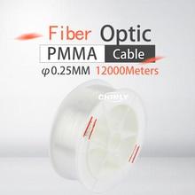 12000 m/rolka światłowód wysokiej jakości 0.25mm PMMA plastikowe koniec świecące włókno światło optyczne kabel do sufitu dekoracyjny element oświetleniowy