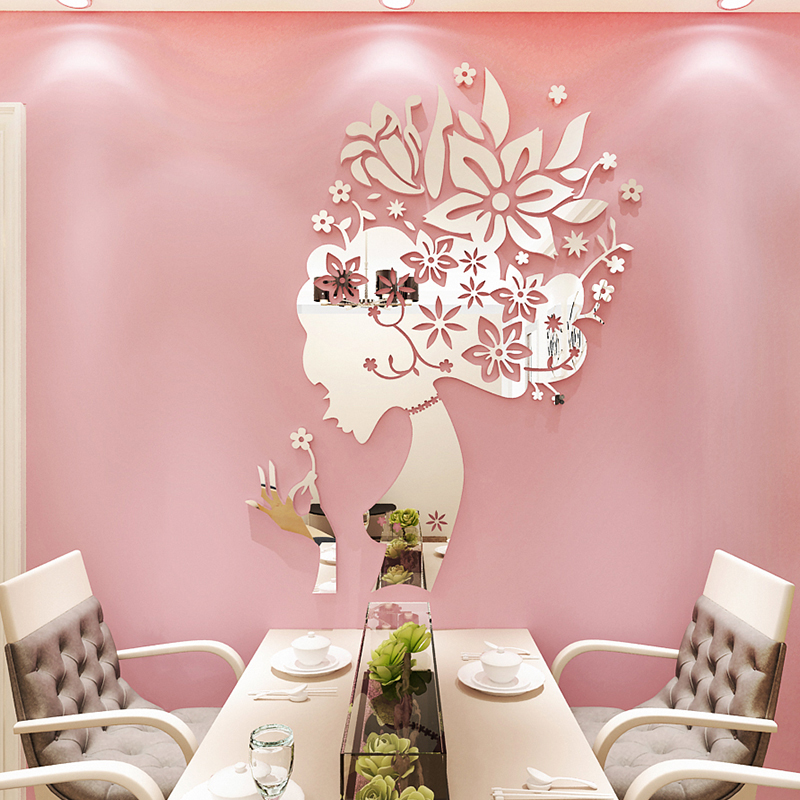 Creative Flower Fairy Acrylic 3d Stereo Wall Sticker Restaurant Beauty Salon Decorative Home Decoration Accessories Living Room
