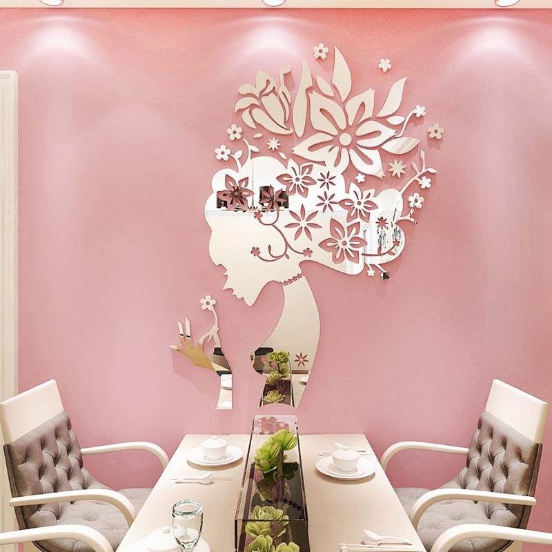 Creative Flower Fairy Acrylic 3d Stereo Wall Sticker Restaurant Beauty Salon Decorative Home Decoration Accessories Living Room