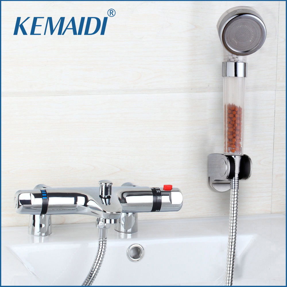 Deck Mounted Bath Shower Ceramic Thermostatic Faucets Valve Bathroom Shower Water Thermostatic Control Valve Mixer Faucet Tap traditional faucet chrome thermostatic bathroom faucets plastic handshower dual holes shower mixer tap