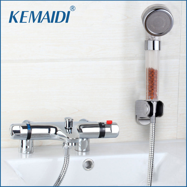 Deck Mounted Bath Shower Ceramic Thermostatic Faucets Valve Bathroom ...