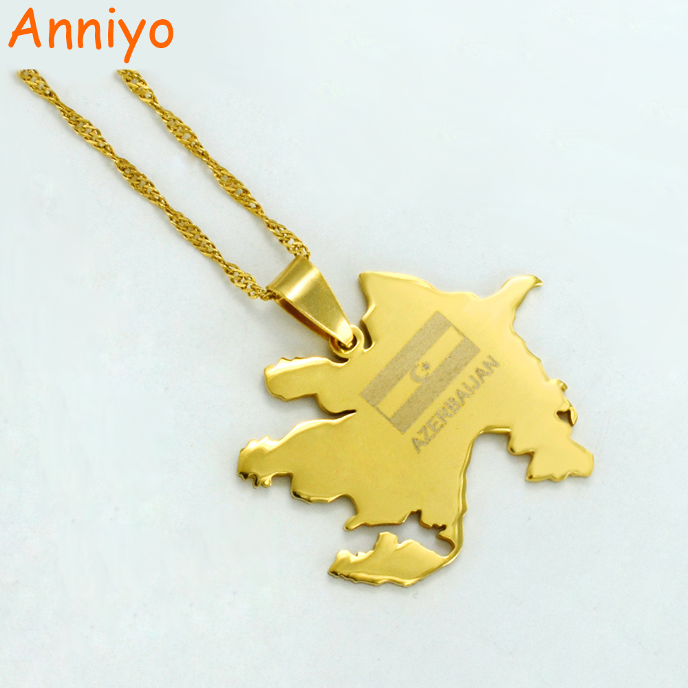 Anniyo Gold Color Azerbaijan Map & Flag Pendant Necklaces Azerbaycan of Maps Jewelry Gifts #010521 хазин а ред книга об азербайджане icons of azerbaijan
