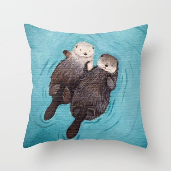 Luxury Printing Morimo Funny scenery Romantic Otters Holding Hands Stylish Custom Zippered Square Pillow Cover Pillowcases