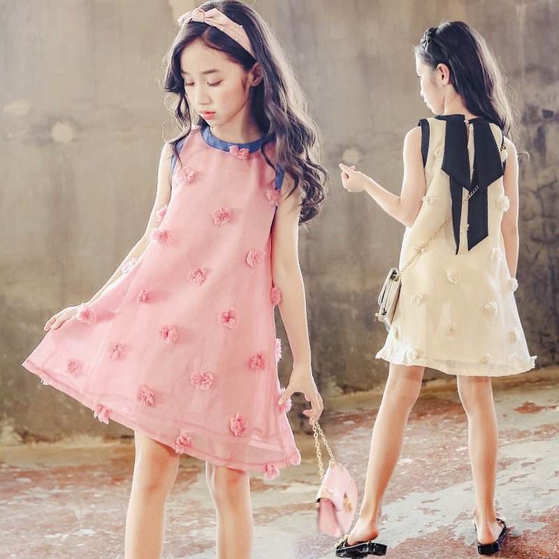 Kids Girls Sleeveless A line Floral Dresses Summer 2018 Princess Clothing Teenage Baby Girls Dress Children Sundress Pink Beige