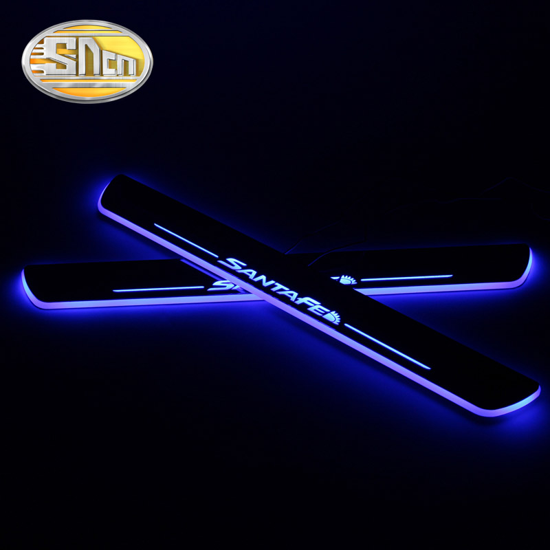 4PCS Acrylic Moving LED Welcome Pedal Car Scuff Plate Pedal Door Sill Pathway Light For Hyundai