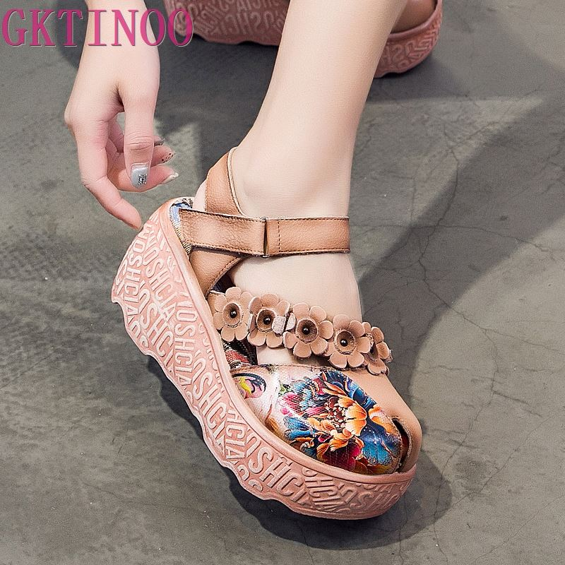 GKTINOO Summer Wedges Sandals Ethnic Style Genuine Leather Platform Women's Sandals Flower Comfortable High Heels Women's Shoes