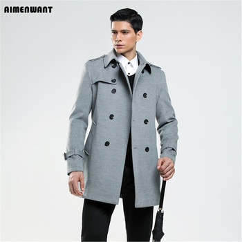 AIMENWANT New Arrival 2018 double breasted woolen coat male business imitation wool coat mens British customize outwear