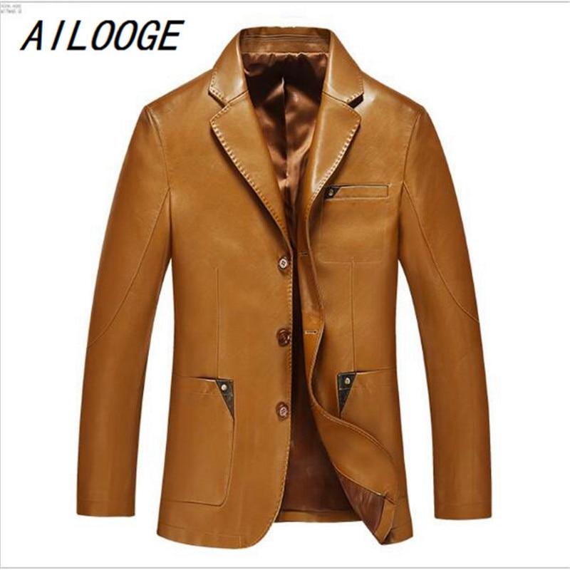 AILOOGE Men Leather Suit Autumn And Winter Blazer Male Sheepskin Suit Tops Genuine Split Leather Slim Jacket Black Brown Coat