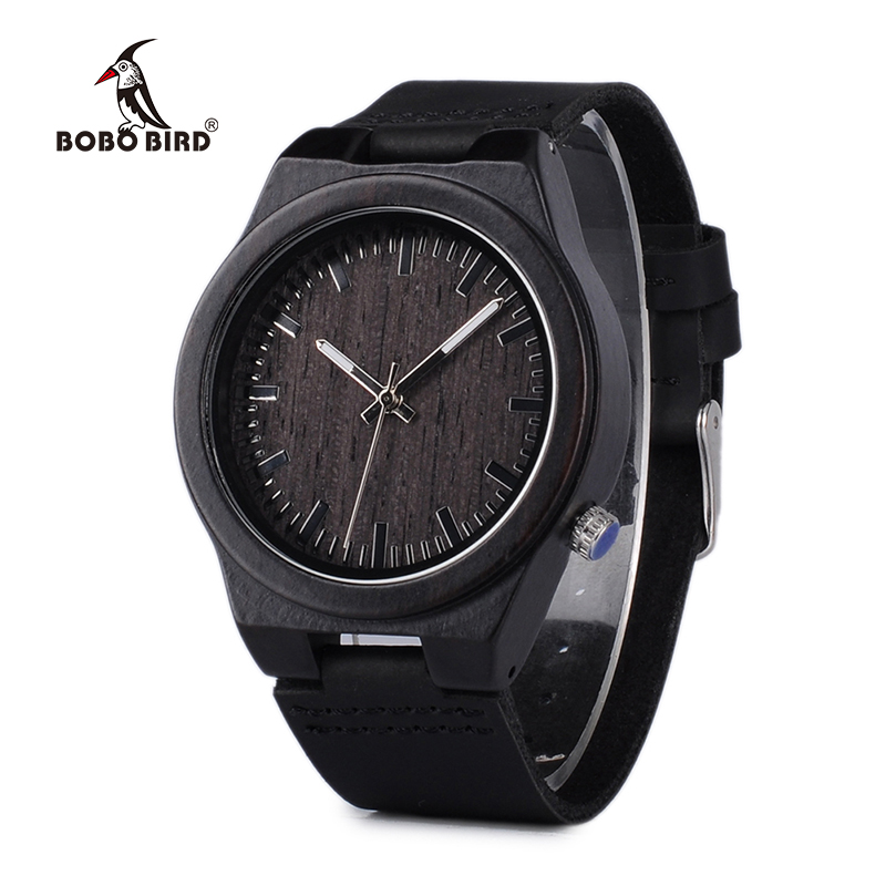 BOBO BIRD V-B12 Sort Træ Watch Herre Top Luksus Brand Japan Miyota 2035 Movement Quartz Watch Med Læderrem
