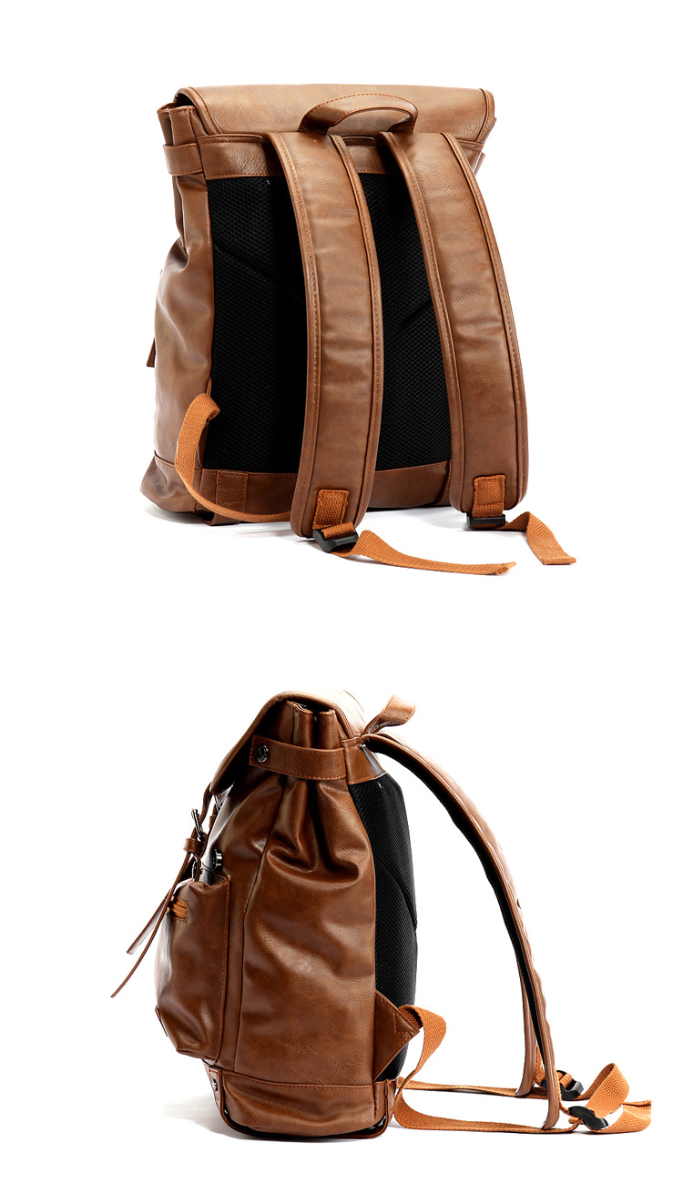 two photos of the backside and the left side of a vintage backpack made with leather