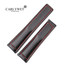 CARLYWET 20 22mm Wholesale Black With Red Stitches High Quality Genuine Leather Replacement Watch Band Strap все цены