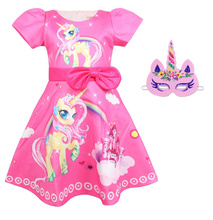 Summer new fashion girls print short-sleeved childrens Unicorn dress Halloween show costumes