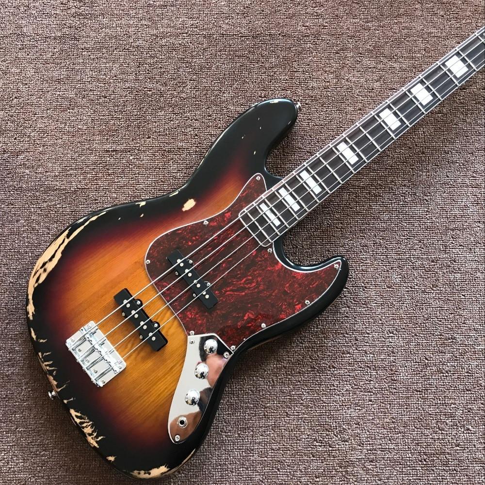 Newest 4 String Handmade retro jazz Electric Bass Guitar.high quality Sunburst color top gitaar