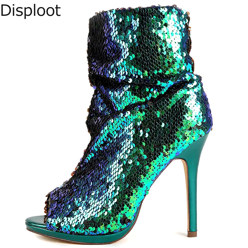 Bling bling peacock green sequins peep toe Thin High heels Ankle Boots  Women Sexy Glitter Stage fcac23f6eea7