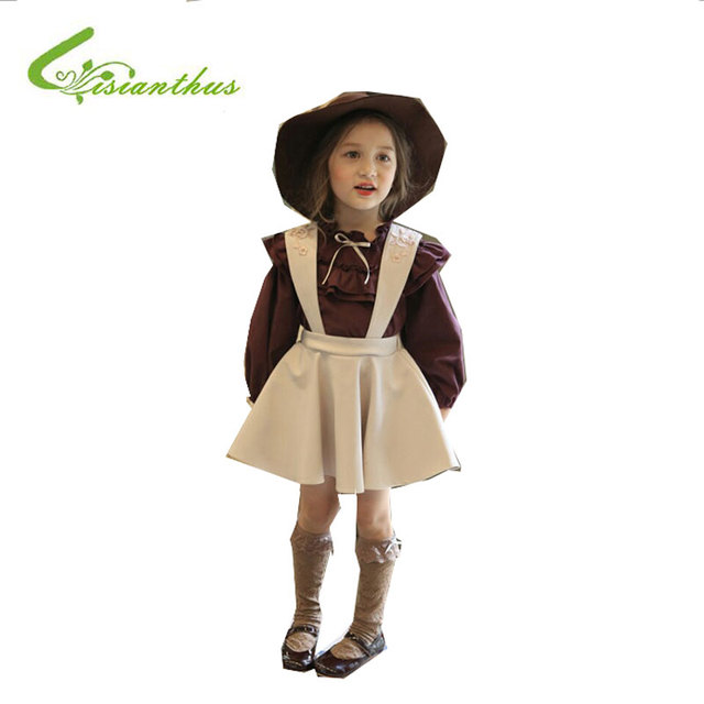 Children Skirt for Girls Cotton Embroidery Princess British Style Suspender Skirt Kids Fashion Lovely Pleated Skirt High Quality