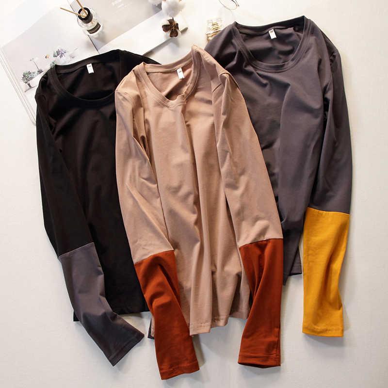 Женская футболка с длинным рукавом, хлопковая футболка, модная Корейская одежда, женские топы, 2019, футболка Camisetas Mujer, футболка Femme