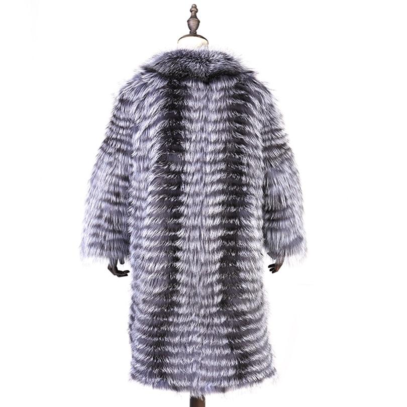 Chaud Femmes Longue Angleterre Naturel Mode Dame Renard Épais Argent Hiver De Extra Manteau Réel Coasf007 2018 Fourrure Style Rqx6wYUYaZ