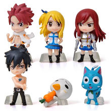 6pcs /set anime Fairy Tail Natsu Happy Lucy Gray Elza PVC Figure Model Toy Car decoration Collection model good smile anime pvc 1 7 fairy tail natsu dragnir action figure natsu dragneel model toy decoration collections men gift 23cm