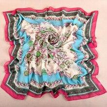 Fashion 10pcs/lot 100*100cm Print Floral Printing Sheer Chiffon Square Scarf Shawls Hajibs Thin See Through Material Scarves