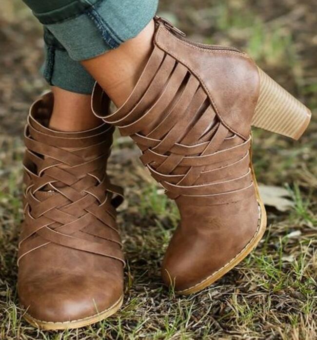 Botas Tacones Bombas Tobillo Cruz Otoño C170343 Recortes Martin brown 2018 Mujer Chunky Mujeres atado Zapatos Primavera Pink ORnww1q0f