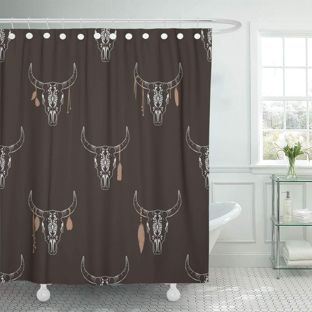 Shower Curtain Hooks Brown Boho Bull Skull Hippie Cow Youth American Dark Dead Drawn Decorative Bathroom