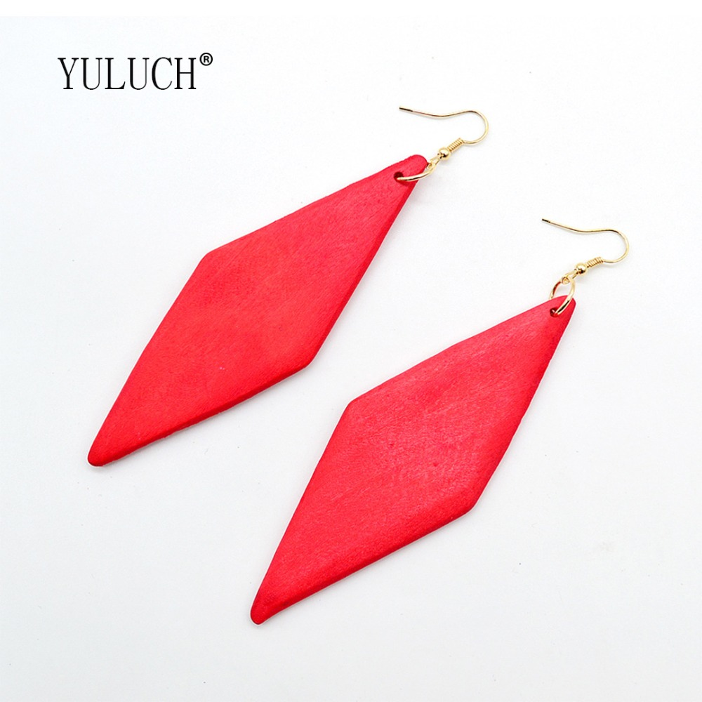 YULUCH New Fashion Exaggerated Wood Earrings for Women Simple Art Geometric Solid Color Jewelry for Girls