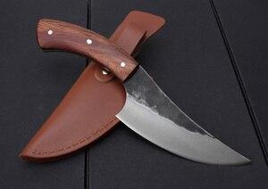 Image 5 - KKWOLF нож из высокоуглеродистой стали, прямой кованый охотничий нож ручной работы, 58HRC, деревянная ручка, походный тактический нож для выживания