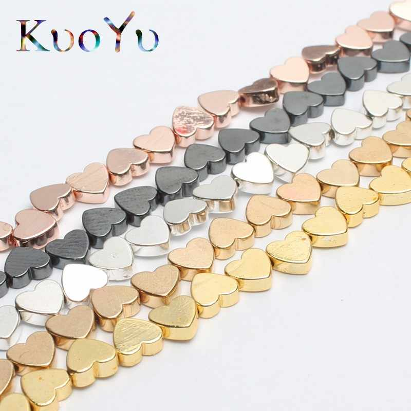Natural Rose Gold Black Hematite Love Heart Beads Loose Stone Beads for Jewelry Making DIY Bracelet Pendant Necklace 15'' 5x6mm