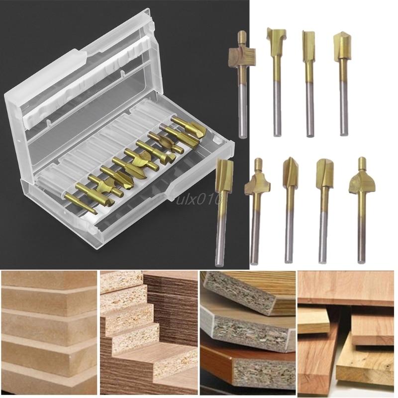 10Pcs Titanium Router Wood Milling Cutter Bits Fits Rotary Tool Set 1/8 Shank S04 Drop ship