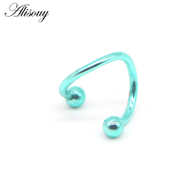 Alisouy 1 PC S Shape Ear Labret Ring Surgical Stainless Steel 2 Balls Twisted Helix Cartilage.jpg 640x640 - Alisouy 1 PC S Shape Ear Labret Ring Surgical Stainless Steel 2 Balls Twisted Helix Cartilage Earring Piercing Body Gauge 16G