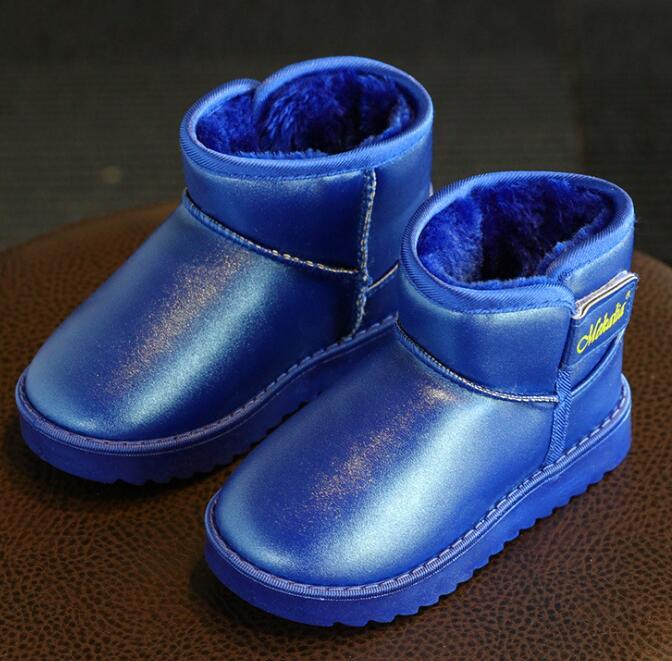 Зима новый стиль Детские однотонные зимние сапоги искусственная кожа с мехом Девочки Мальчики обувь, сохраняющая тепло Водонепроницаемая ...