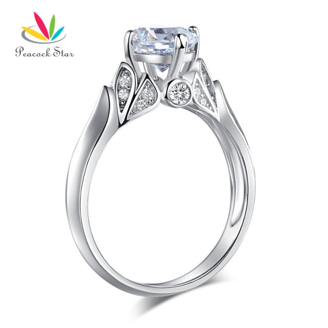 peacock star flower 925 sterling silver wedding promise anniversary ring 125 ct jewelry cfr8259 - 25th Wedding Anniversary Rings