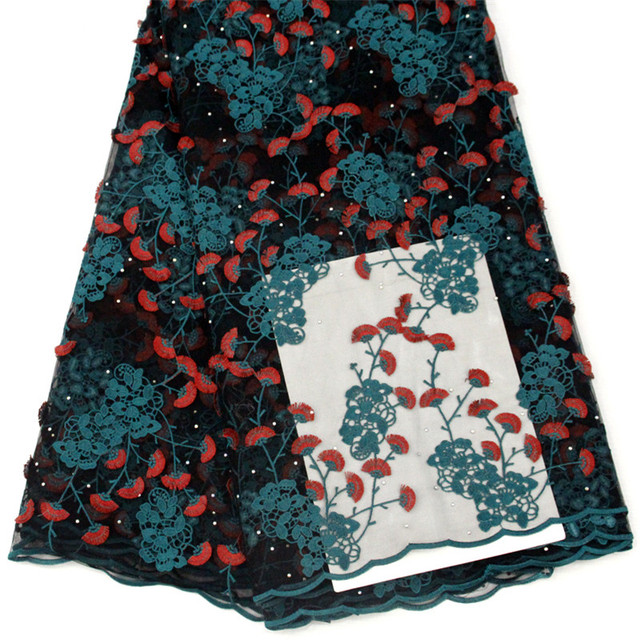 NEW Teal/Red Nigeria African Party Dress Floral Lace Fabric Latest French lace Embroidery Tulle Lace Fabric with Stones X1441