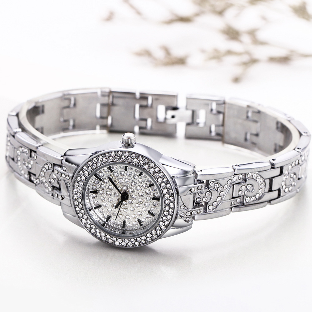 Full Crystals Elegant Ladies Watch Luxury Wrist Bracelet Watches for Women Stones Dial Roman Index Christmas Gift free shipping 5