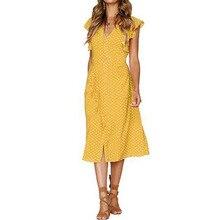 Casual Vintage Sundress Women Summer Dress 2019 Boho Sexy Dress Midi Button Ruffle Sleeve Polka Dot Print Beach Dress Female vintage 3 4 sleeve button design polka dot women s dress