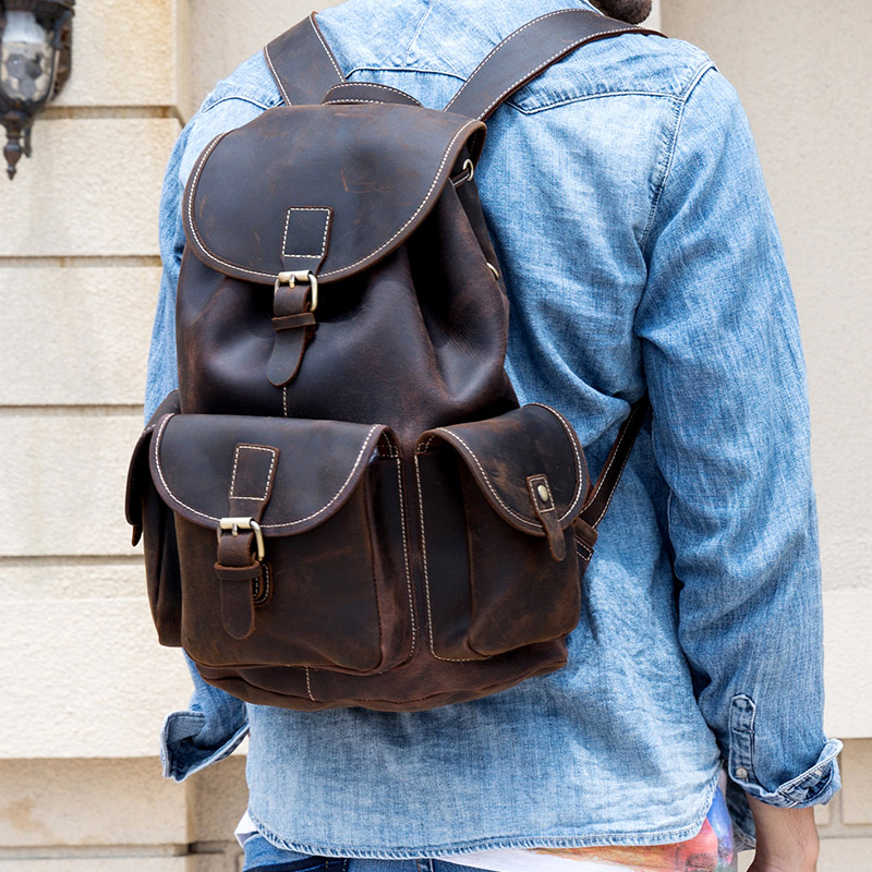 Luufan Vintage crazy horse leather men backpack thick genuine cow leather women rucksack big capacity travel