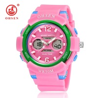 OHSEN Children Watches Sport LED Quartz Analog Digital Watches Kids Clocks Multi Function Silicone Alarm Students