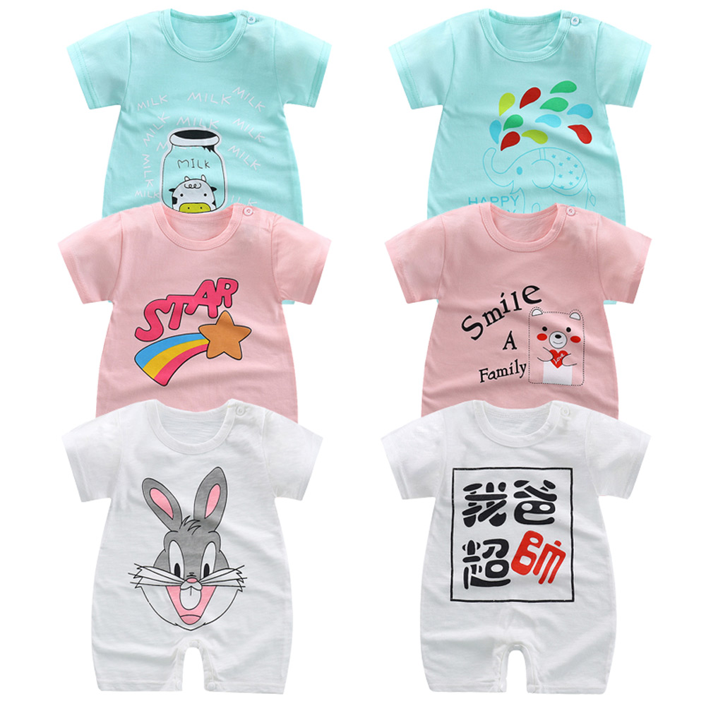 Summer Newborn Baby   Rompers   Short Sleeve Toddler Infant Jumpsuits Cartoon Printed Baby Boy Girl   Rompers   Overalls Baby Clothes